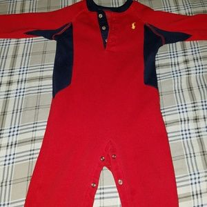 Ralph Lauren Polo onsie with feet out sz 12 month